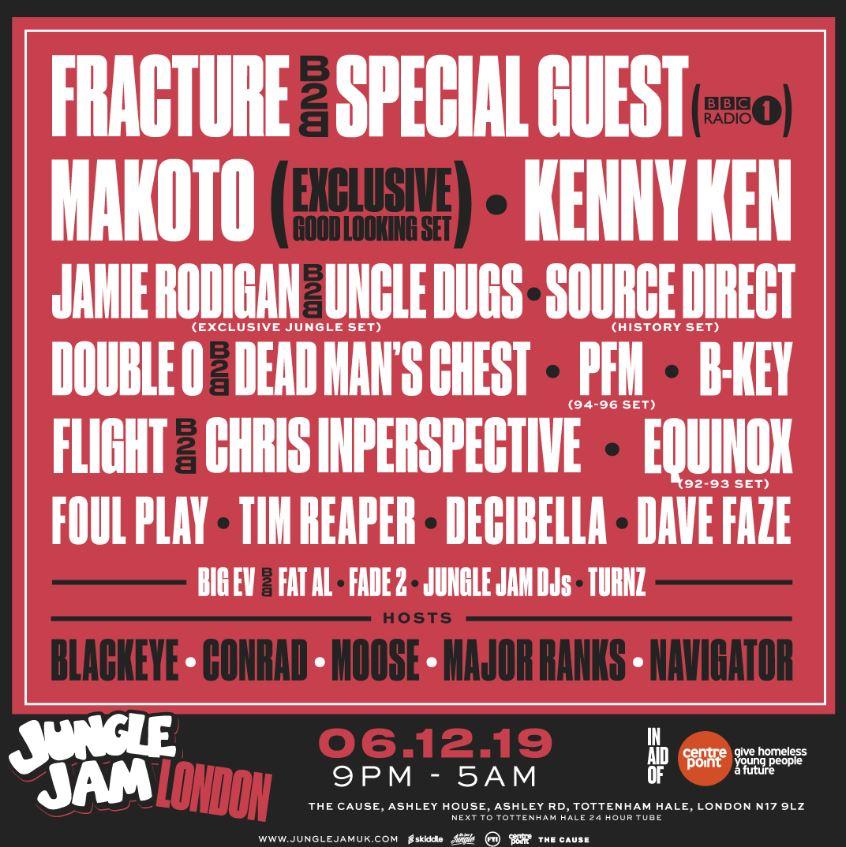 jungle jam london - makoto, fracture, kenny ken, uncle dugs ++ tickets